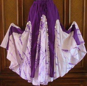 Funky Hippie Twirlly Dancer Tie Dye Skirt Purples OS S-XL