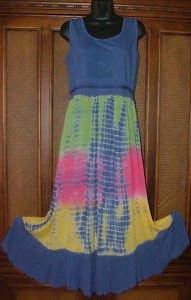 Cool Long Tie Dye Hippie Dress Crochet Detail Clr Choic