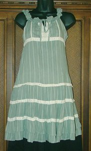 Cute Peasant Style Hippie Beach Dress Sky or Moss Size M Blow Out