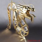 24k GOLD PLATED SWAROVSKI CRYSTAL DRAGON SUNCATCHER NWT