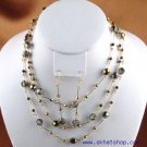 SWAROVSKI BEADED GOLDEN SHADOW CRYST NECKLACE EAR RINGS