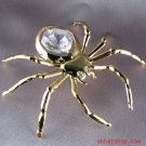 GOLD PLATED, CLEAR SWAROVSKI CRYSTAL SPIDER GOTH MAGNET / ORNAMENT