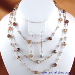 SWAROVSKI AURORA BOREALIS GOLD AND CLEAR CRYSTAL NECKLACE EARRING SET