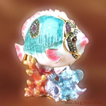 Tropical Fish Gift Jewelry / Trinket Box with Fish Pendant with Swarovski Crystals