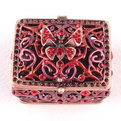 Bejeweled Vintage Style Butterfly, Red Trinket Box with Swarovski Crystals
