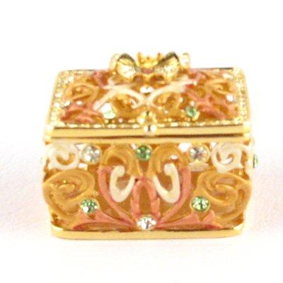 Bejeweled Yellow Butterfly Filigree Trinket Gift Jewelry Box with Swarovski Crystals