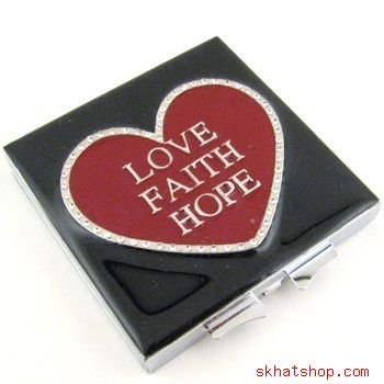 LOVE FAITH HOPE - RED HEART, VANITY / COMPACT MIRROR with SWAROVSKI CRYSTALS
