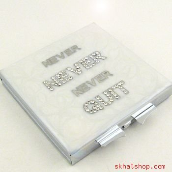 """""""Never Never Never Quit"""" WHITE VANITY / COMPACT MIRROR with SWAROVSKI CRYSTALS"""