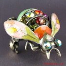 SWAROVSKI AB CRYSTAL RUCINNI GREEN WINGED BEETLE BROOCH ~ PIN