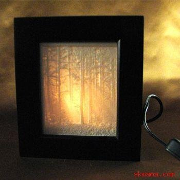 """WOODLAND SUNBEAMS"" NATURE - PORCELAIN SHADOW BOX LIGHT"