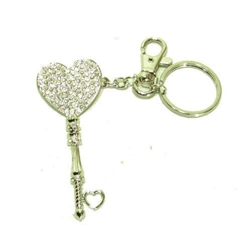 Swarovski Clear Crystal Pave Shimmer Heart Silver Tone Key Chain Key Chain Handbag Charm
