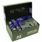 100% Silk Woven Paisley pattern Neck Tie Cufflink Handkerchief Gift Set Black with Gift Box.