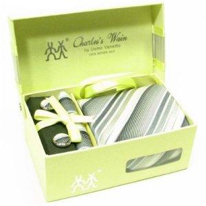 100% Silk Woven Stripe pattern Necktie Cufflink Handkerchief Gray with Gift Box.