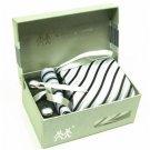 100% Silk Stripe pattern Neck Tie Cufflink Handkerchief Gift Set Silver Black Gray with Gift Box.