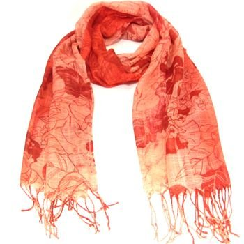 NEW SHEER THIN SPRING FLORAL LONG SCARF SHAWL 74x24 RED