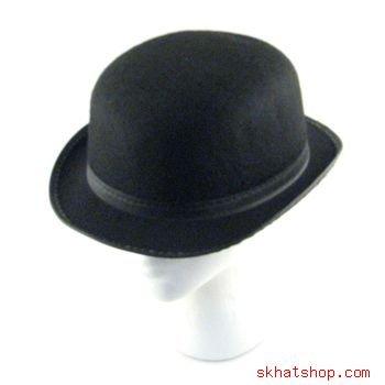 BLACK FELT BOWLER DERBY HAT COSTUME DANCE PLAYS- MEDIUM
