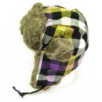 Faux Fur Buffalo Plaid Trooper Trapper Ski Hat Purple