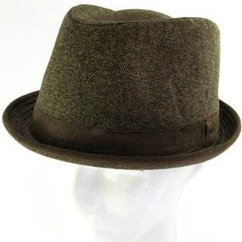 NEW HERRINGBONE UPTURN BRIM FEDORA TRILBY HAT BROWN M