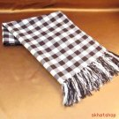 BUFFALO PLAID FRINGE HEAD SCARF WRAP SHAWL 32x38 BROWN