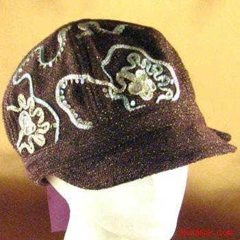 TWEED LUREX TIE NEWSBOY GATSBY DRIVING CAP HAT BURGUNDY