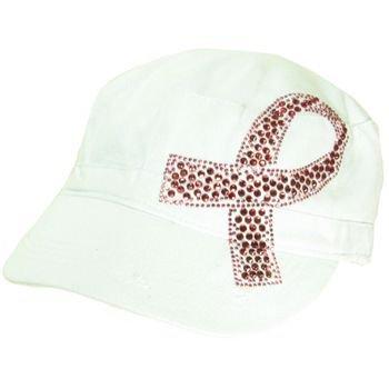 Cancer Pink Crystal Ribbon Frayed Cadet Hat Cap White