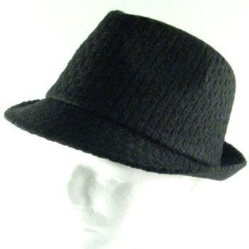 NEW WOVEN WOOL STINGY FEDORA TRILBY HAT CAP BLACK L/XL