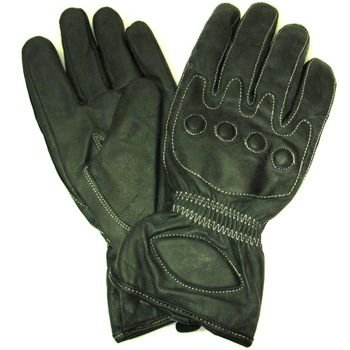 Men's Leather Light Lined Padded Biker Snap Gloves M