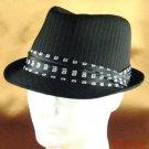 PINSTRIPE FEDORA PRINTED 3 PLEAT SATIN HAT BLACK M/L