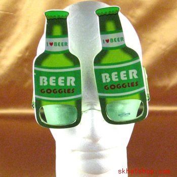 GREEN BEER BOTTLE FRAT KEG PARTY COSTUME GAG SUNGLASSES
