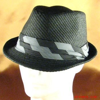 3 PLEAT BAND STINGY BRAID FEDORA TRILBY HAT BLACK L/XL