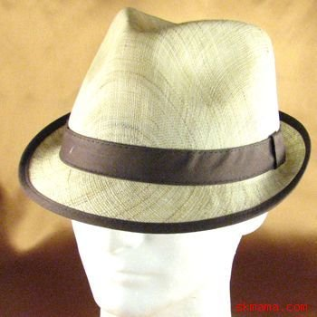 100% LINEN VENTED STINGY FEDORA TRILBY HAT BROWN M/L