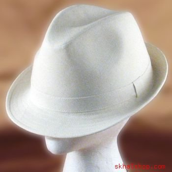 WOVEN LINEN  POLY FEDORA TRIBLY GANGTER HAT CREAM NWT