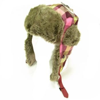 Faux Fur Buffalo Plaid Trooper Trapper Ski Hat Berry