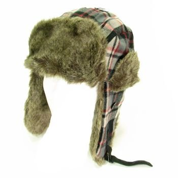 Soft Faux Fur Plaid Winter Trapper Pilot Ski Hat Black