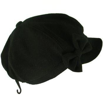JUNIOR NEWSBOY CABBIE BERET RIBBON BOW CAP HAT BLACK