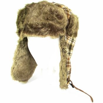 FAUX FUR PLAID TRAPPER TROOPER PILOT SKI HAT *BROWN M/L
