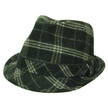 NWT Check Plaid Heavy Wool Fedora Trilby Hat Black M/L