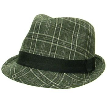Check Plaid Wool Stingy Brim Fedora Trilby Hat Gray M/L