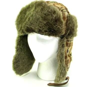 FAUX FUR PLAID TROOPER TRAPPER PILOT SKI HAT BROWN ML