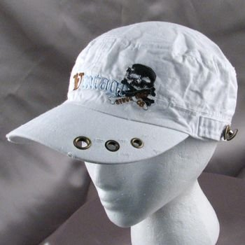 VINTAGE EMB DISTRESSED CADET MILITARY CAP HAT NEW WHITE