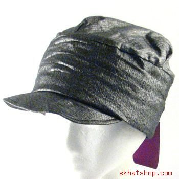 COTTON CRINKLE LUREX NEWSBOY CABBY DRIVER CAP HAT BLACK