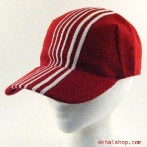 COTTON KNIT BIKE RACER  VISOR BALL CAP HAT RED S/M