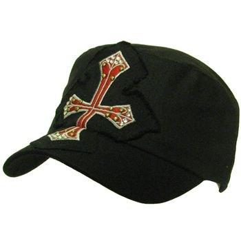 Cotton Frayed Cross Patch Military Cadet Hat Cap Black