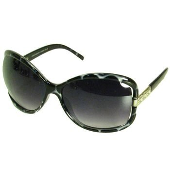 Oversized Rectangle Sunglasses Rhinestones Black Clear