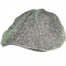 WOOL TWEED HERRINGBONE IVY DRIVING GOLF CAP HAT BLACK