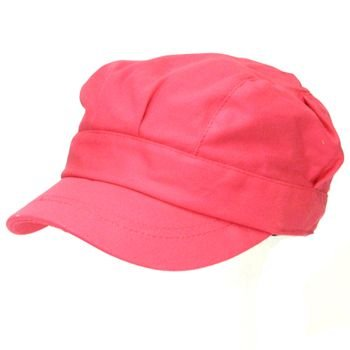 NEW COTTON 6 PLEAT CADET MILITARY NEWSBOY CAP HAT PINK