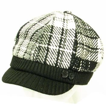 Wool Stitch Plaid  Ribbed Knit Newsboy Cap Hat Black