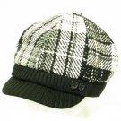 Wool Stitch Plaid  Ribbed Knit Newsboy Cap Hat Black