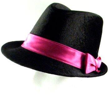 NEW VELOUR SATIN BOW FEDORA TRILBY DANCE HAT BLACK PINK