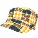 Wool Woven Plaid Cadet Military GI Cap Hat Multi Orange